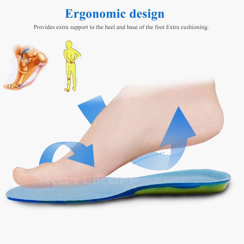 Shock Absorption Plantar Fasciitis Orthopedic Massaging Silicon Gel Insoles for Foot Care