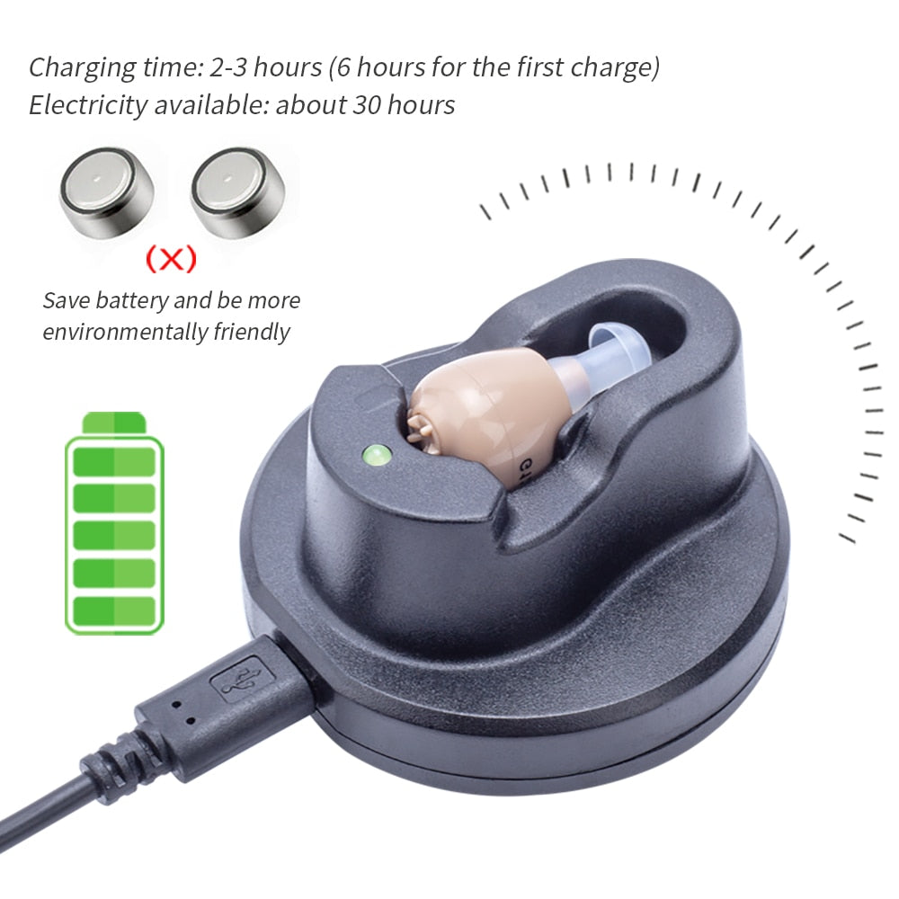Rechargeable Hearing Aid Sound Amplifier for The Elderly Hearing Loss