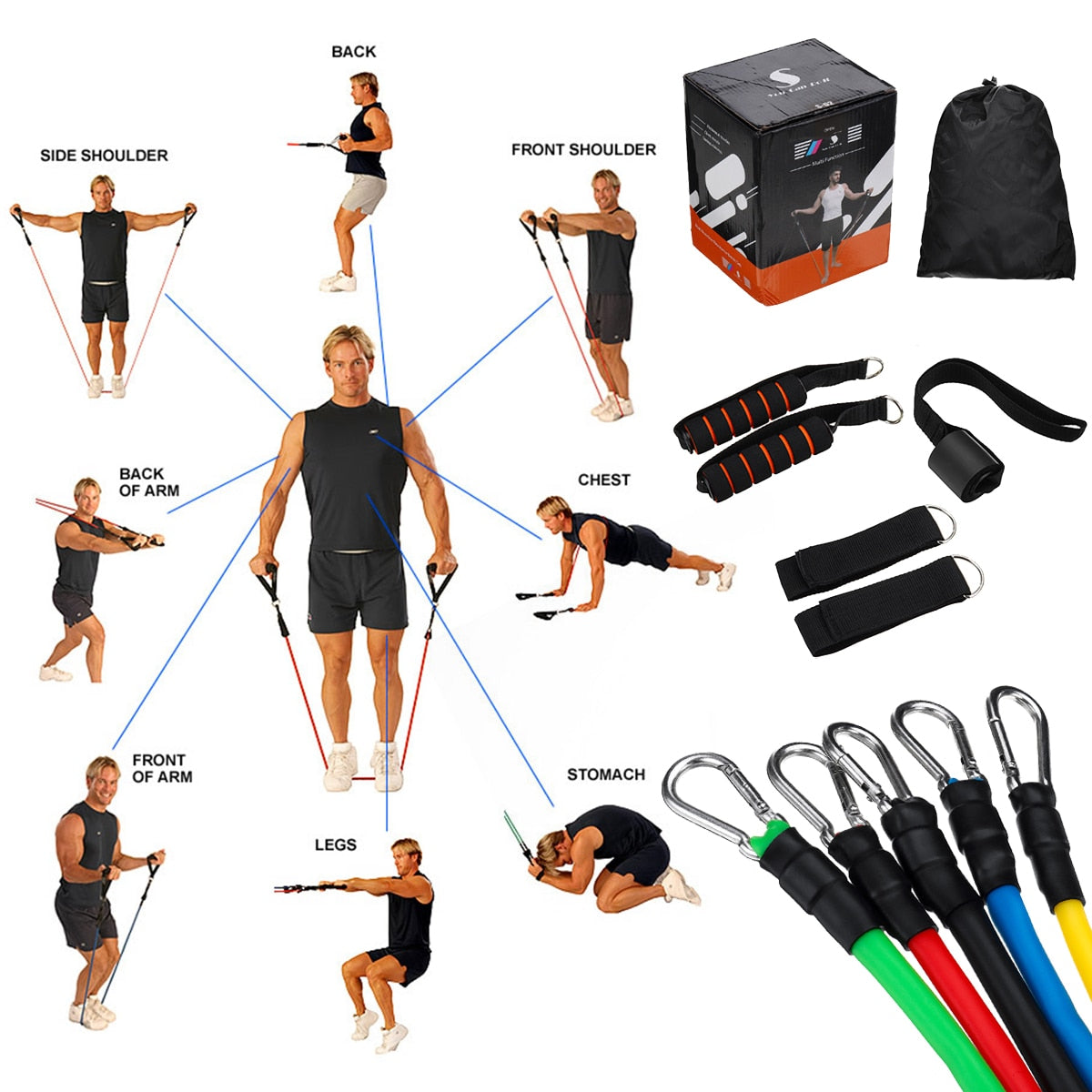 11pcs Natural Rubber Latex Fitness Resistance Bands