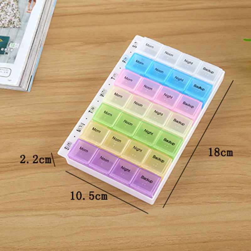 Portable Drug Separable Plastic 28 Grid 7 Days Weekly Pill Cases