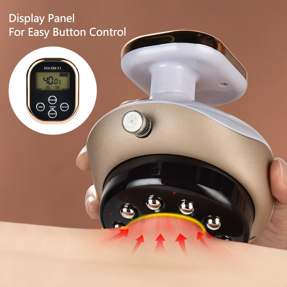 Electric Cupping Massager EMS Vacuum Suction Cups with LCD Display