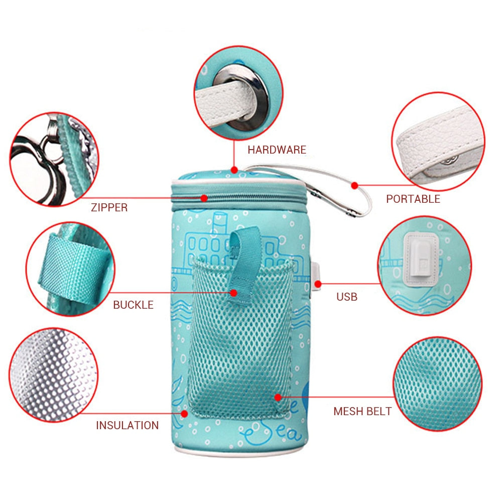 Portable USB Charging Baby Infant Milk Bottle Warmer Insulation Bag