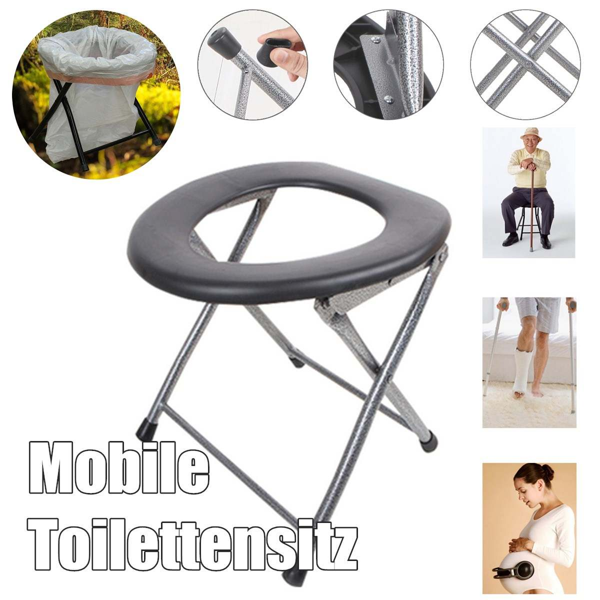 Folding Portable Toilet Seat Commode for Pregnant Women & Elderly