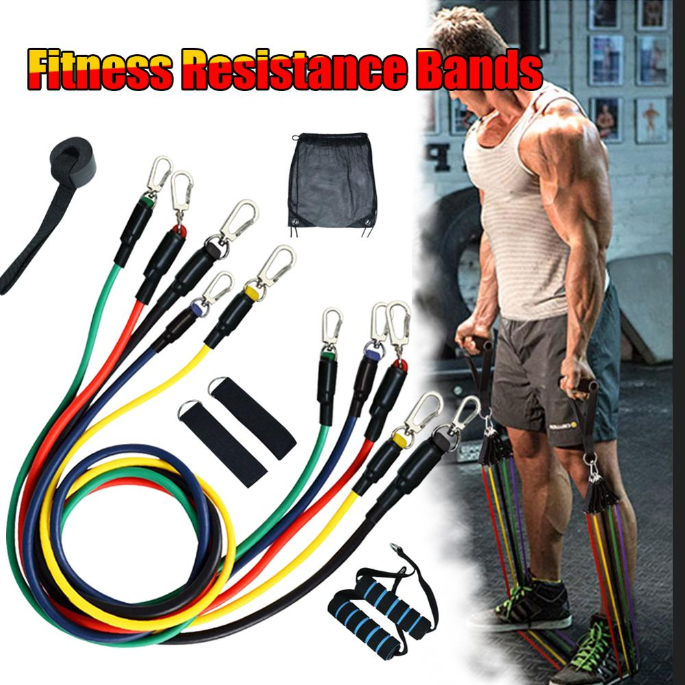11pcs/set Pull Rope Fitness Exercises Resistance Bands for Training & Workout