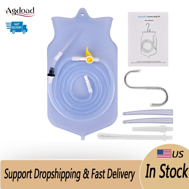 New Reusable Enema Bag Colon Irrigator Feminine Hygiene Health Care Silicone Water Detox Douche Anal Vagina Cleaner