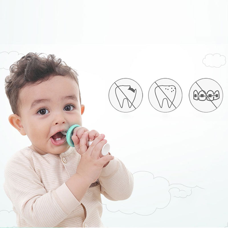 Kids Training Safe Silicone Toothbrush with Tongue Cleaner Dental Care