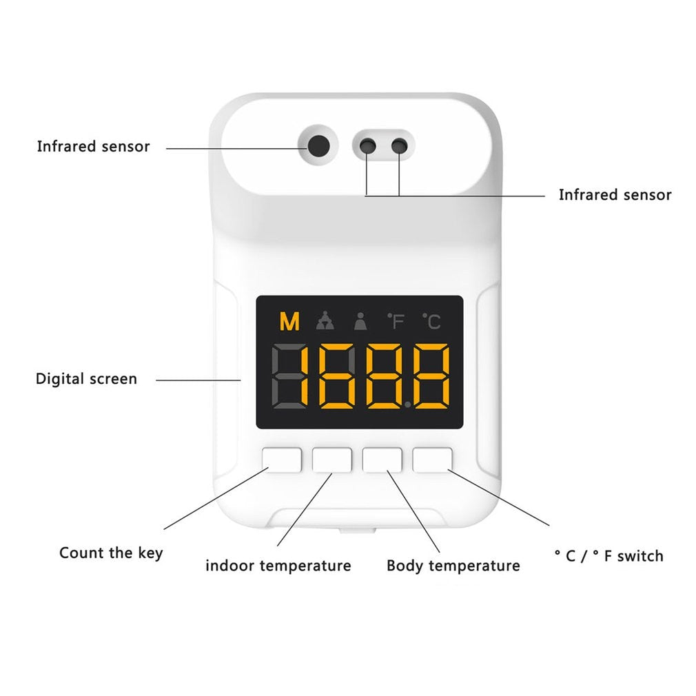 Non-contact Infrared Digital K3 Pro Forehead Wall Mounted Temperature Measure Thermometer With Fever Alarm