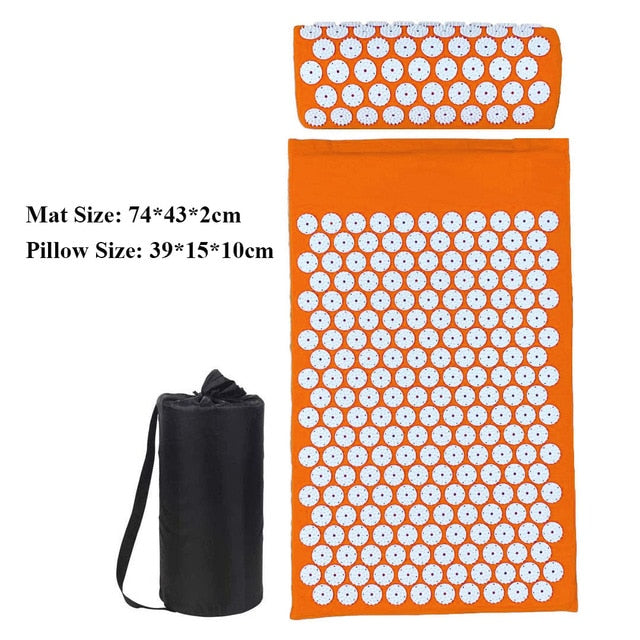 74X43cm Acupressure Yoga Mat and Pillow Set for Body/Neck/Back/Foot Stress Pain Relief