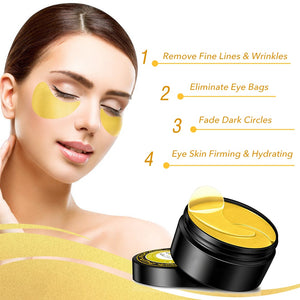 24K Gold Eye Treatment Mask Reduce Wrinkles Puffiness Dark Circles