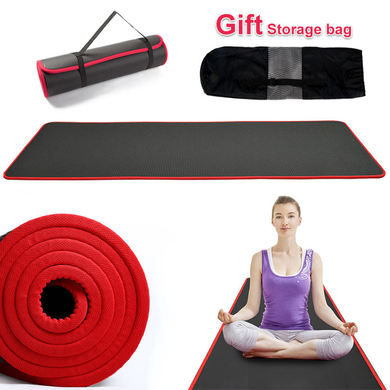 Non-slip High Quality 10mm Extra Thick Fitness Gym Exercise Yoga Mat With Storage Bag