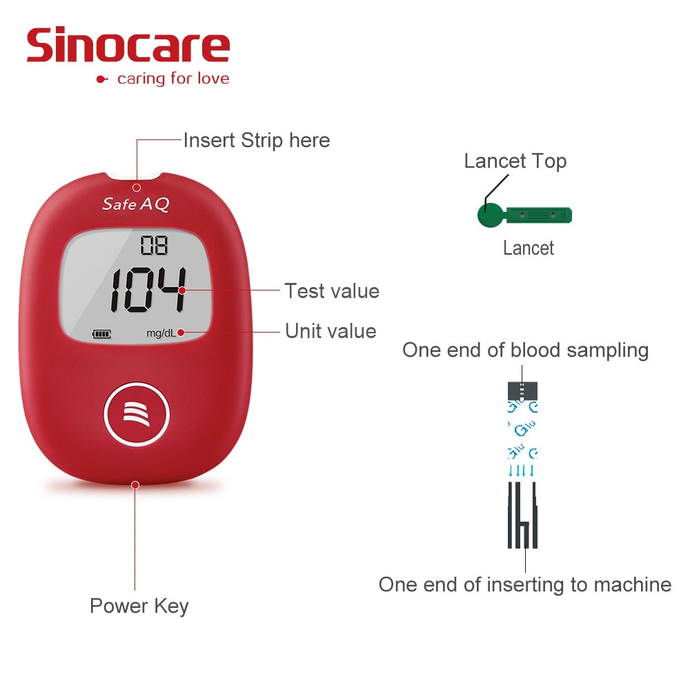 Safe AQ Smart Glucometer Blood Glucose Meter With Test Strips Lancets 5 Seconds Simple Test Accurate for Diabetes