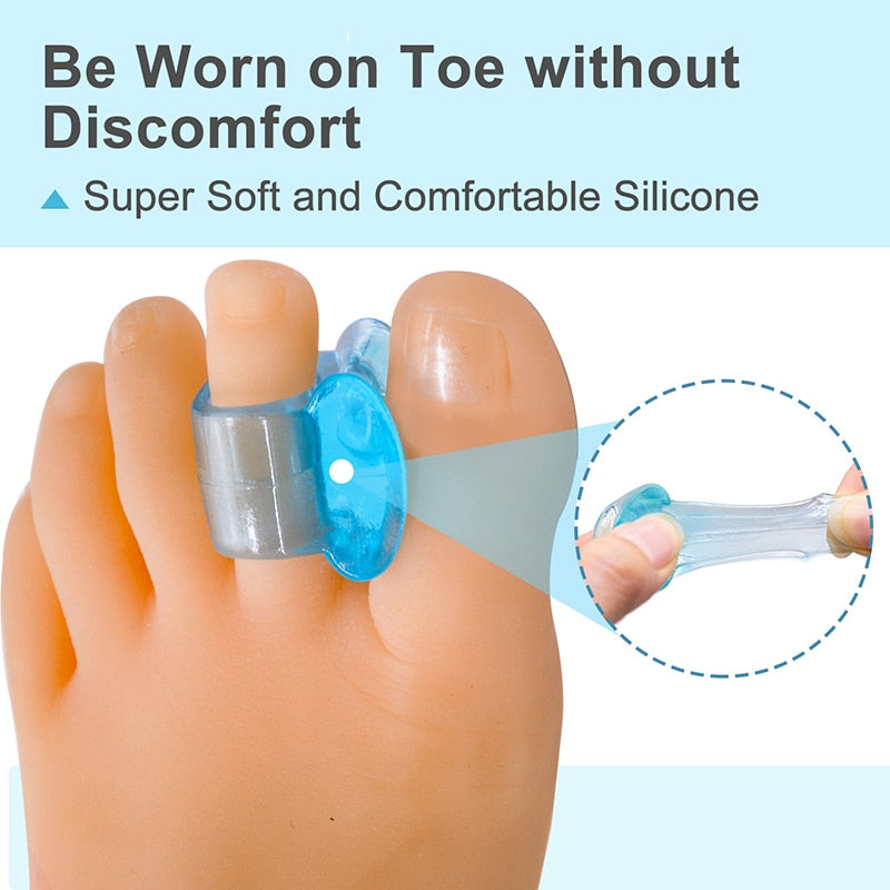 20pcs=10pairs Transparent Blue Bunion Silicone Toe Separator for Foot Care