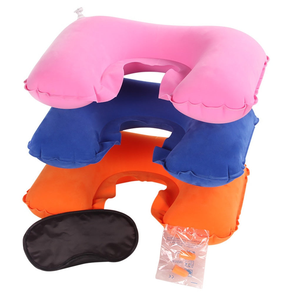 Inflatable U-shape Velvet Outdoor Air Pillow Sleep Cushion for Travel