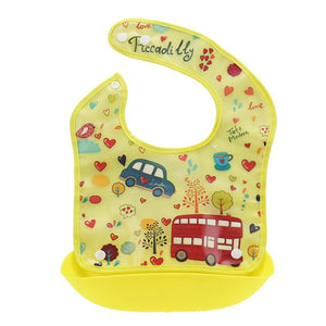 Soft & Foldable Silicone Waterproof Cartoon Pattern Newborn Baby Bibs