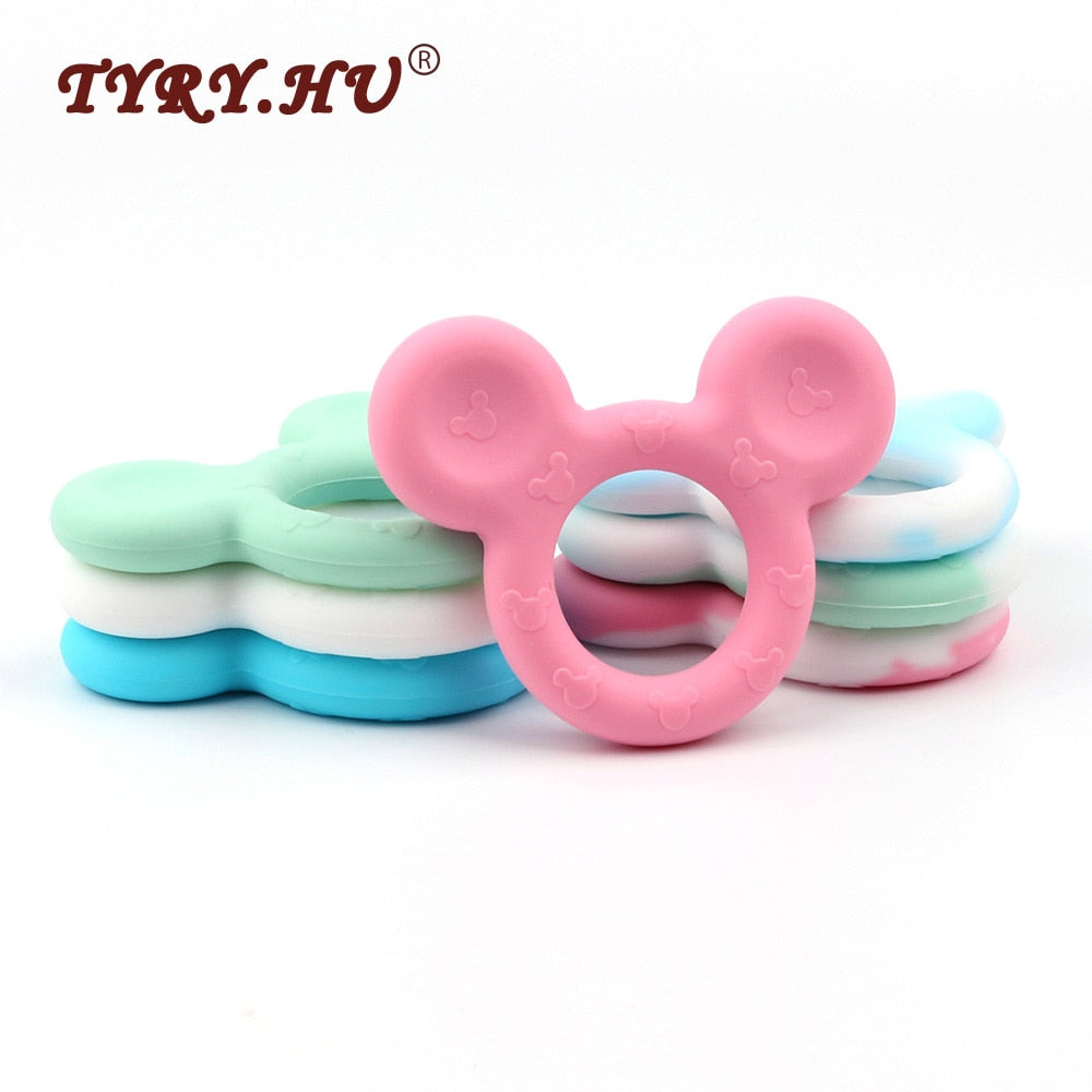 10 Pcs Silicone Teether Mouse Head Beads Pendant Cute Teething Chew Toys For Babies
