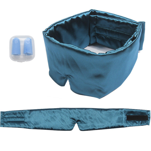 Pure Silk Sleep Rest Padded Shade Cover Sleeping Eye Mask Outdoor Eyepatch