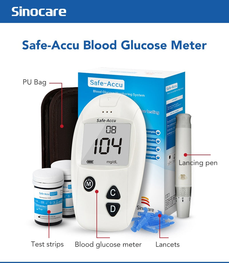 Safe-Accu Blood Glucose Monitor with 150 Test Strips Lancets