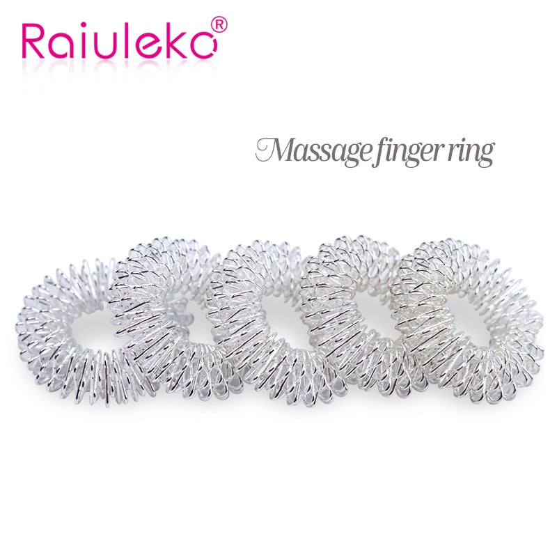 10Pcs Silver Massage Acupuncture Finger Rings for Pain Relief Stress Relief