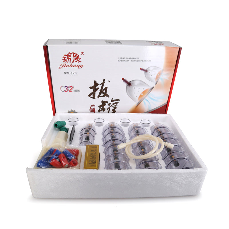 32 Pieces Vacuum Cupping Suction Cups Jar Set for Body Massage