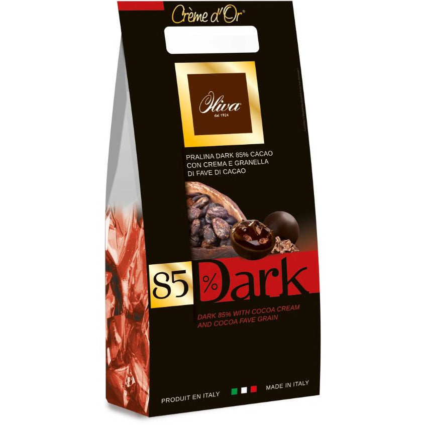 "CREME D'OR 85% Dark chocolate pralines filled w/ cocoa cream and cocoa bean 200g"" - Good Food"