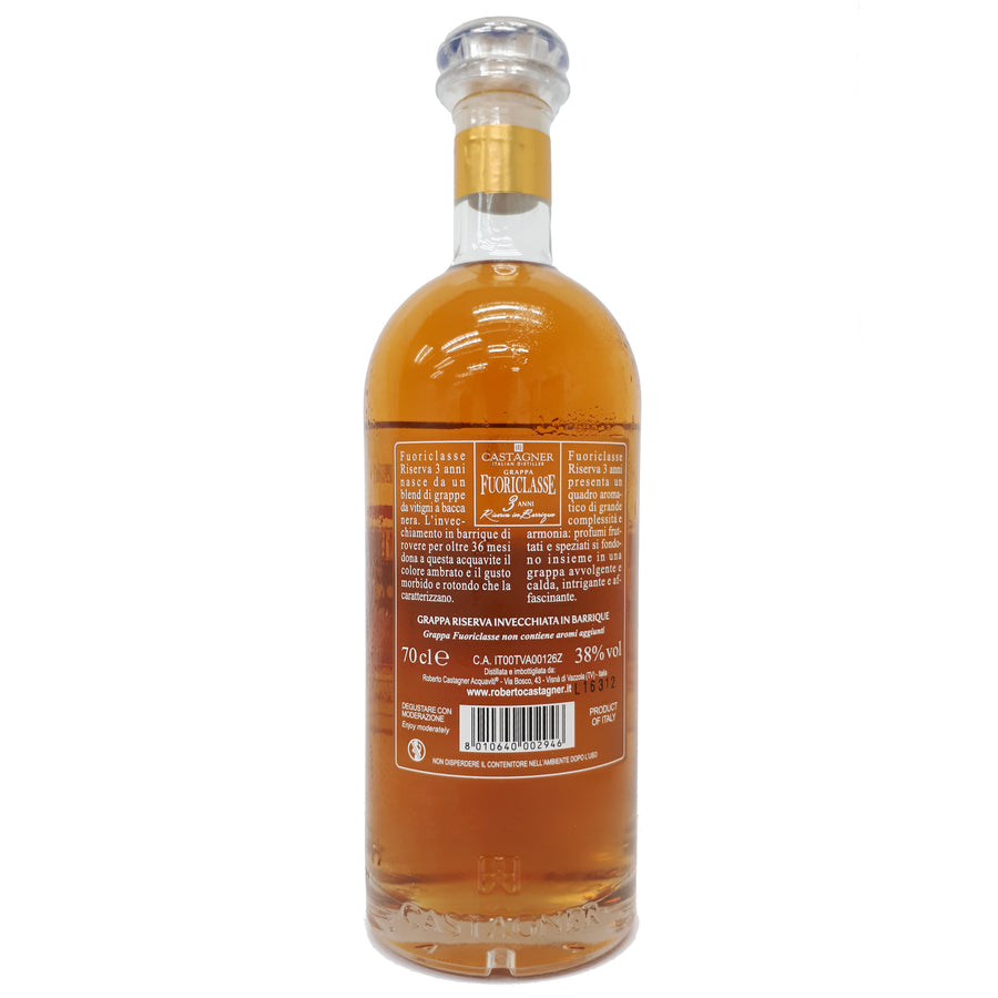 Grappa Fc Riserva 3 Years 38% 70cl CASTAGNER - Good Food