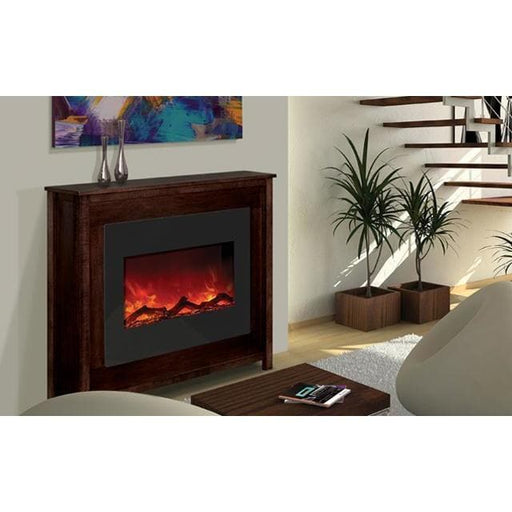 "Amantii Fireplaces Amantii ZECL-30-3226-BG 30"" Zero Clearance  Electric Fireplace with 32"" x 26"" Black Glass Surround ZECL-30-3226-BG 182849000134"