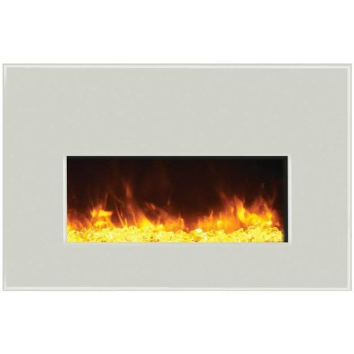 "Amantii Fireplaces Amantii 10701131C-INS3825WG 38"" x 25"" White  Electric Fireplace Glass Surround for INSERT-26-3825-BG 10701131C-INS3825WG 628110804419"