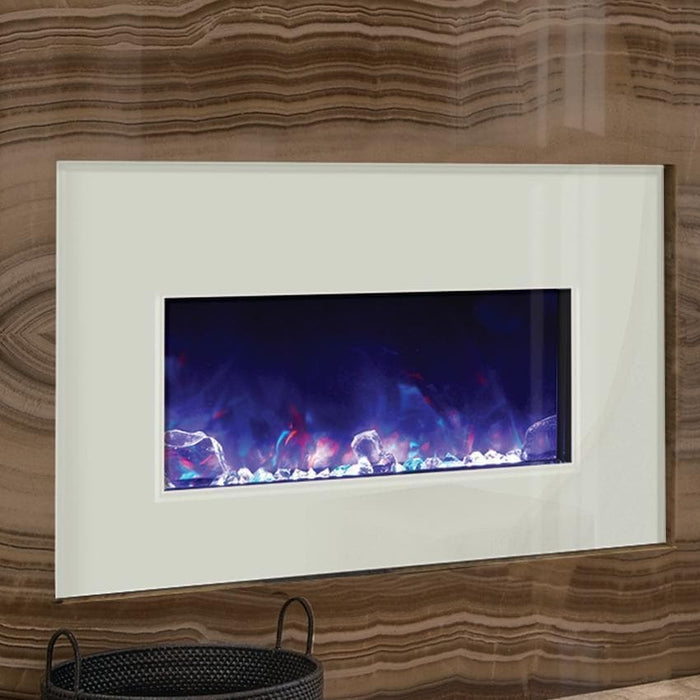 "Amantii Fireplaces Amantii 10701133B-INS4026WG 40"" x 26"" White  Electric Fireplace Glass Surround for INSERT-30-4026-BG 10701133B-INS4026WG 628110804433"
