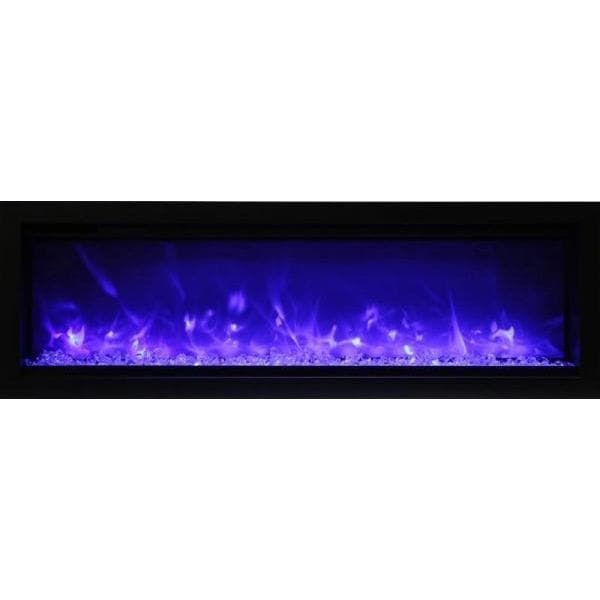 "Amantii Fireplaces Amantii SYM-42-B 42"" Basic clean-face Electric Fireplace  built-in with glass, black steel surround SYM-42-B 182849000929"