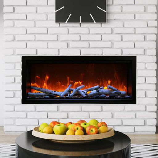 "Amantii Fireplaces Amantii SYM-50-XT 50"" Extra Tall Clean face Electric Fireplace  Built-in with black steel surround SYM-50-XT 182849000394"