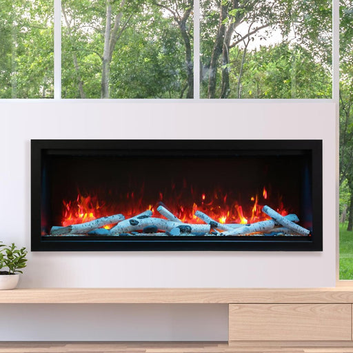 "Amantii Fireplaces Amantii SYM-60-XT 60"" Extra Tall Clean face Electric Fireplace  Built-in with black steel surround SYM-60-XT 182849000400"