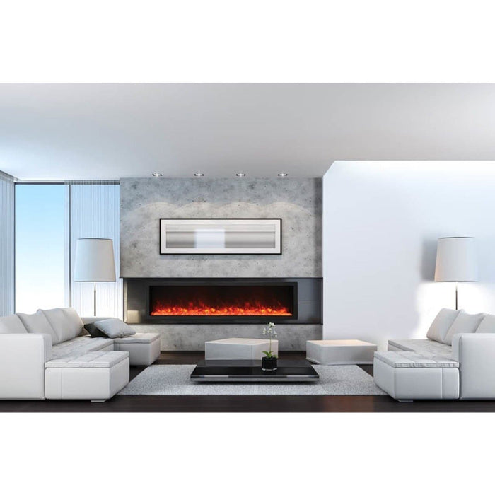 "Amantii Fireplaces Amantii BI-88-DEEP-OD 88"" Electric Fireplace  Deep Built-in only comes with optional black steel surround BI-88-DEEP-OD 182849000653"