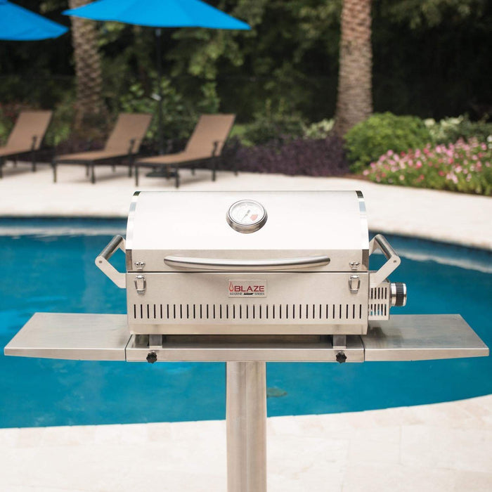 "Blaze Outdoor Grills Blaze BLZ-PRTPED-MGSS  Side Shelves for 10"" Pedestal for the Portable Marine Grade Grill BLZ-PRTPED-MGSS 818718012754"