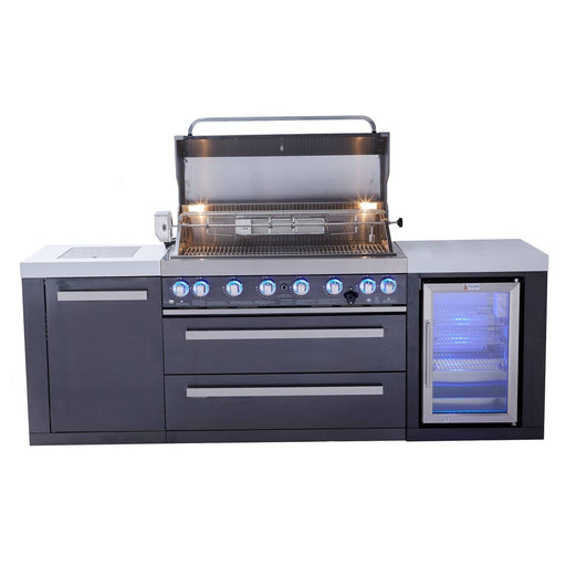 Mont Alpi 805 Black Stainless Steel Grill Island with Fridge Cabinet-Mont Alpi-Homeflamestore.com