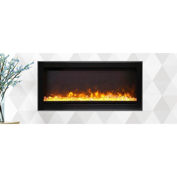 "Remii Fireplaces Remii WM-34-B 34"" Electric Fireplace  Basic clean-face electric built-in with glass, black steel surround WM-34-B 628110804136"