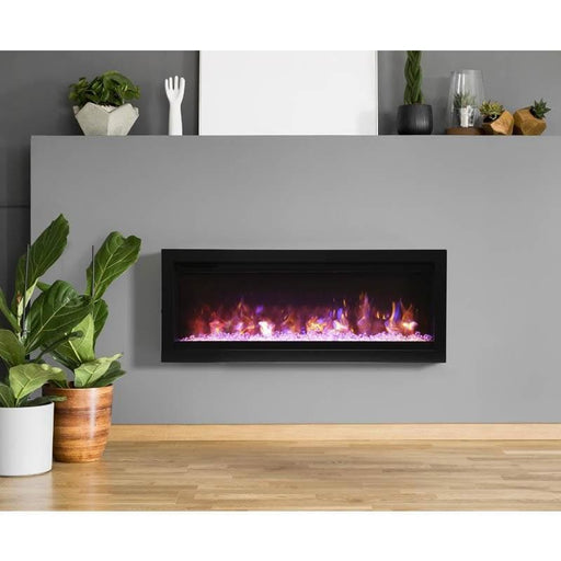 "Remii Fireplaces Remii WM-42-B 42"" Electric Fireplace  Basic clean-face electric built-in with glass, black steel surround WM-42-B 628110804143"