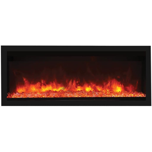 "Remii Fireplaces Remii 102755-DE 55"" Electric Fireplace  Deep Indoor or Outdoor Electric Built-in only with black steel surround 102755-DE 628110804075"