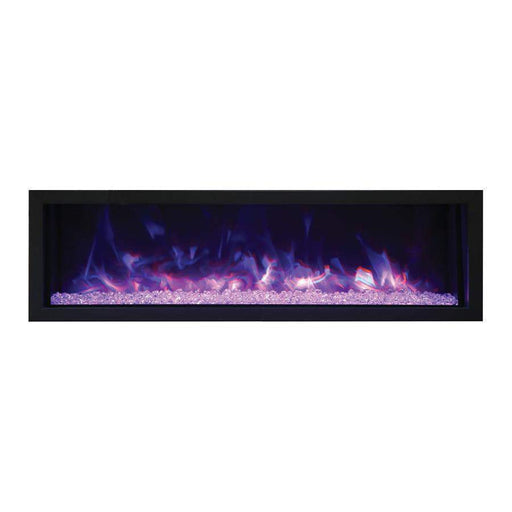 "Remii Fireplaces Remii 102755-XS 55"" Electric Fireplace  Extra Slim Indoor or Outdoor Electric Built-in only with black steel surround 102755-XS 628110804044"