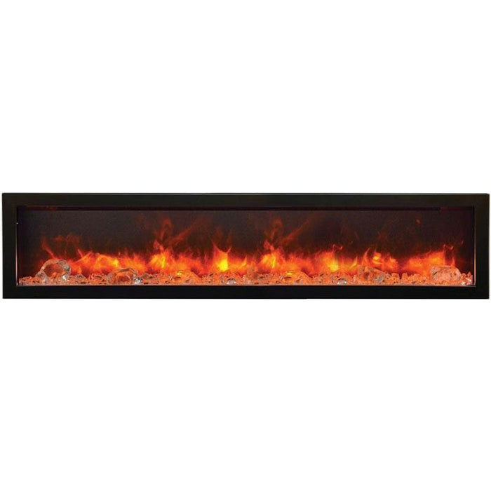 "Remii Fireplaces Remii WM-60-B 60"" Electric Fireplace  Basic clean-face electric built-in with glass, black steel surround WM-60-B 628110804167"