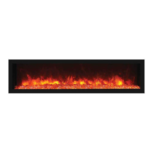"Remii Fireplaces Remii 102765-DE 65"" Electric Fireplace  Deep Indoor or Outdoor Electric Built-in only with black steel surround 102765-DE 628110804082"