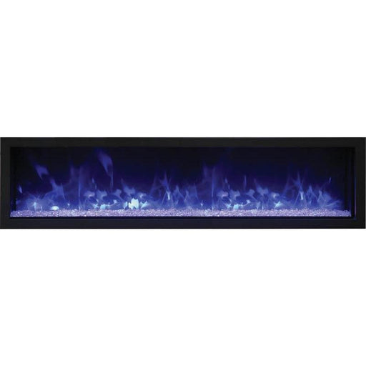 "Remii Fireplaces Remii 102765-XS 65"" Electric Fireplace  Extra Slim Indoor or Outdoor Electric Built-in only with black steel surround 102765-XS 628110804051"