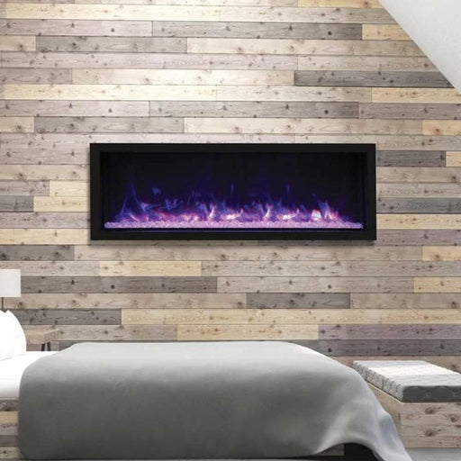 "Remii Fireplaces Remii 102765-XT 65"" Electric Fireplace  Tall Indoor or Outdoor Electric Built-in only with black steel surround 102765-XT 628110804112"
