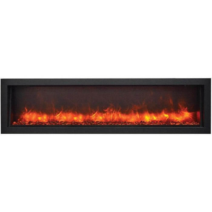 "Remii Fireplaces Remii WM-74-B 74"" Electric Fireplace  Basic clean-face electric built-in with glass, black steel surround WM-74-B 628110804174"