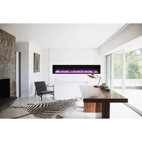 "Remii Fireplaces Remii WM-88-B 88"" Electric Fireplace  Basic clean-face electric built-in with glass, black steel surround WM-88-B 628110804181"