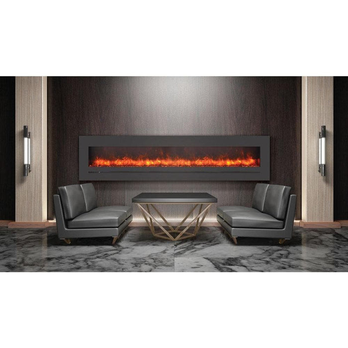 "Sierra Flame Fireplaces Sierra Flame WM-FML-88-9623-STL 88"" Wall Mount / Flush Mount with Steel Surround with clear media WM-FML-88-9623-STL 628451612599"