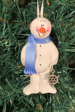 Load image into Gallery viewer, Boat Captain Snowman Tree Ornament