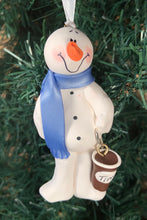 Load image into Gallery viewer, Coffee Time Snowman Tree Ornament
