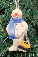 Load image into Gallery viewer, Crane Truck Snowman Tree Ornament
