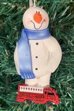Load image into Gallery viewer, Fireman Snowman Tree Ornament