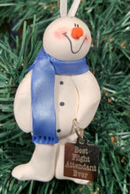 Load image into Gallery viewer, Flight Attendant Snowman Tree Ornament